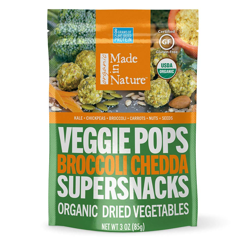 Made in Nature Organic Veggie Pops, Broccoli Cheddar, Vegan Baked Veggie Snacks, 3 Ounce Bags, 6 Count