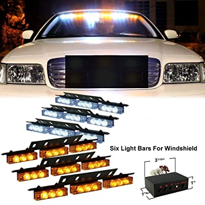 DIYAH 54 LED High Intensity LED Light Bar Law Enforcement Emergency Hazard Warning Strobe Lights For Interior Dash Windshield (Amber and White): Automotive
