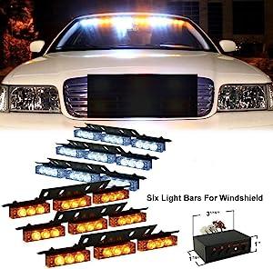 DIYAH 54 LED High Intensity LED Light Bar Law Enforcement Emergency Hazard Warning Strobe Lights For Interior Dash Windshield (Amber and White)