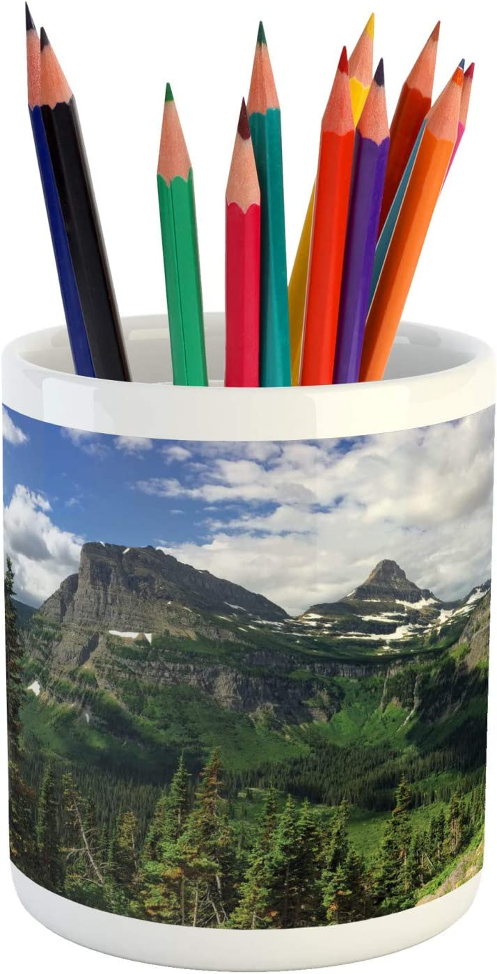 3.6 X 3.2 Multicolor Panoramic Spring Landscape Photo of Thick Forest and Snowy Mountains Ceramic Pencil Holder for Desk Office Accessory Ambesonne Glacier National Park Pencil Pen Holder