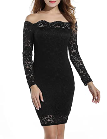 fe94b39d9ac6 Adoeve Off Shoulder Long Sleeve Women Lace Dress Bodycon Scalloped Mini  Dresses (Black