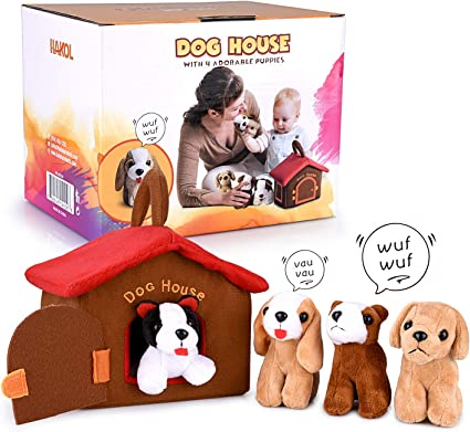 Plush Creations Dog House Carrier With 4 Talking /& Barking Plush Dogs.