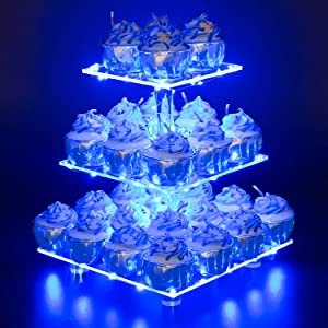 YestBuy 3 Tier Square Cupcake Stand - Premium Cupcake Holder - Acrylic Cupcake Tower Display - Cady Bar Party Décor + LED Light String - Ideal for Weddings, Birthday Parties( Blue Light)