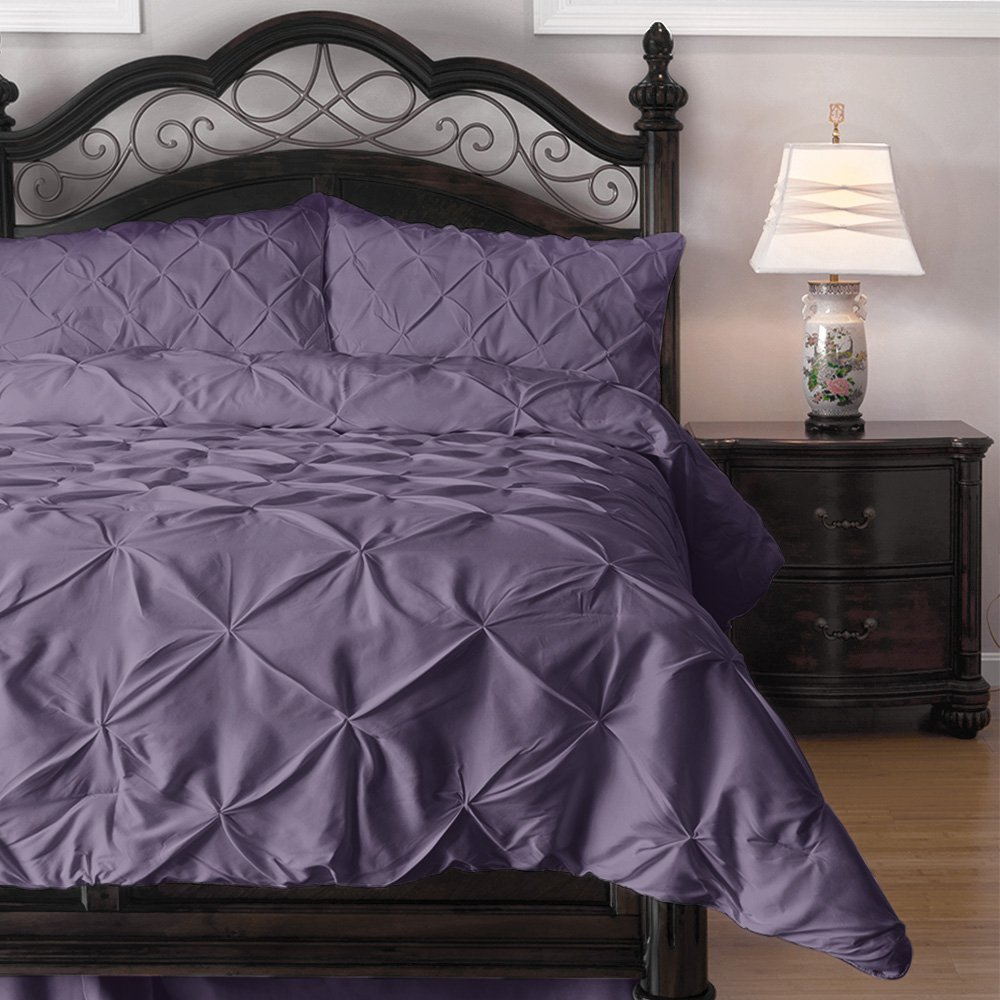 Pinch Pleat Comforter Set - 3-Piece - by ExceptionalSheets, King, Purple
