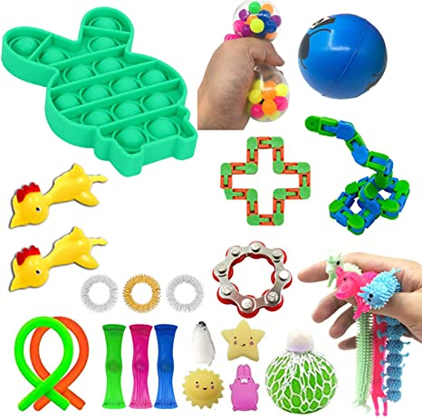 Sensory Fidget Toys Set 24 Pcs,Anti-Anxiety and Stress Relief Tools Bundle Sensory Toys Set for ADHD Autism Stress Anxiety