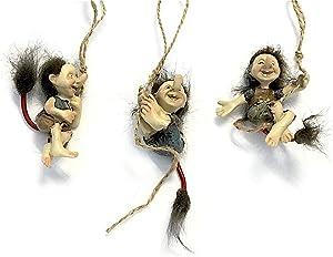 Miniature Swinging Hairy Trolls, Set of Three Trolls for Indoor DIY Fairy Garden Decor