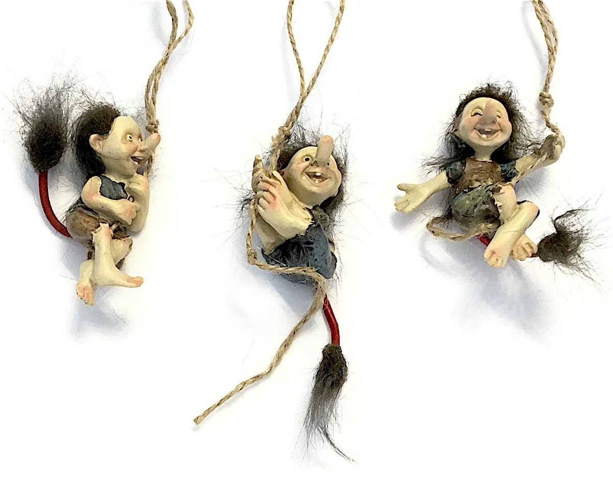 Miniature Swinging Hairy Trolls, Set of Three Trolls for Indoor DIY Fairy Garden Decor by Midwest Design Imports