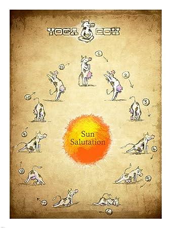 Amazon.com: Yoga Cow Sun Salutation Art Print, 17 x 22 ...