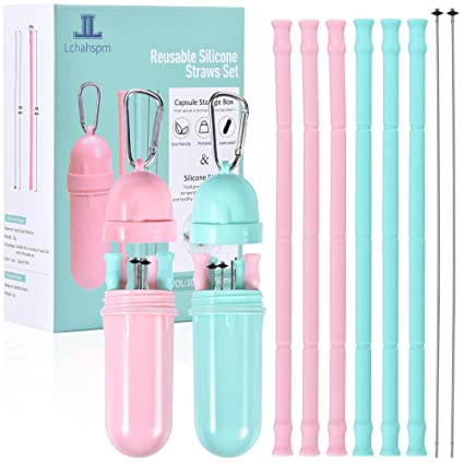 Reusable Silicone Collapsible Straws - 6 Pack Extra Long 10