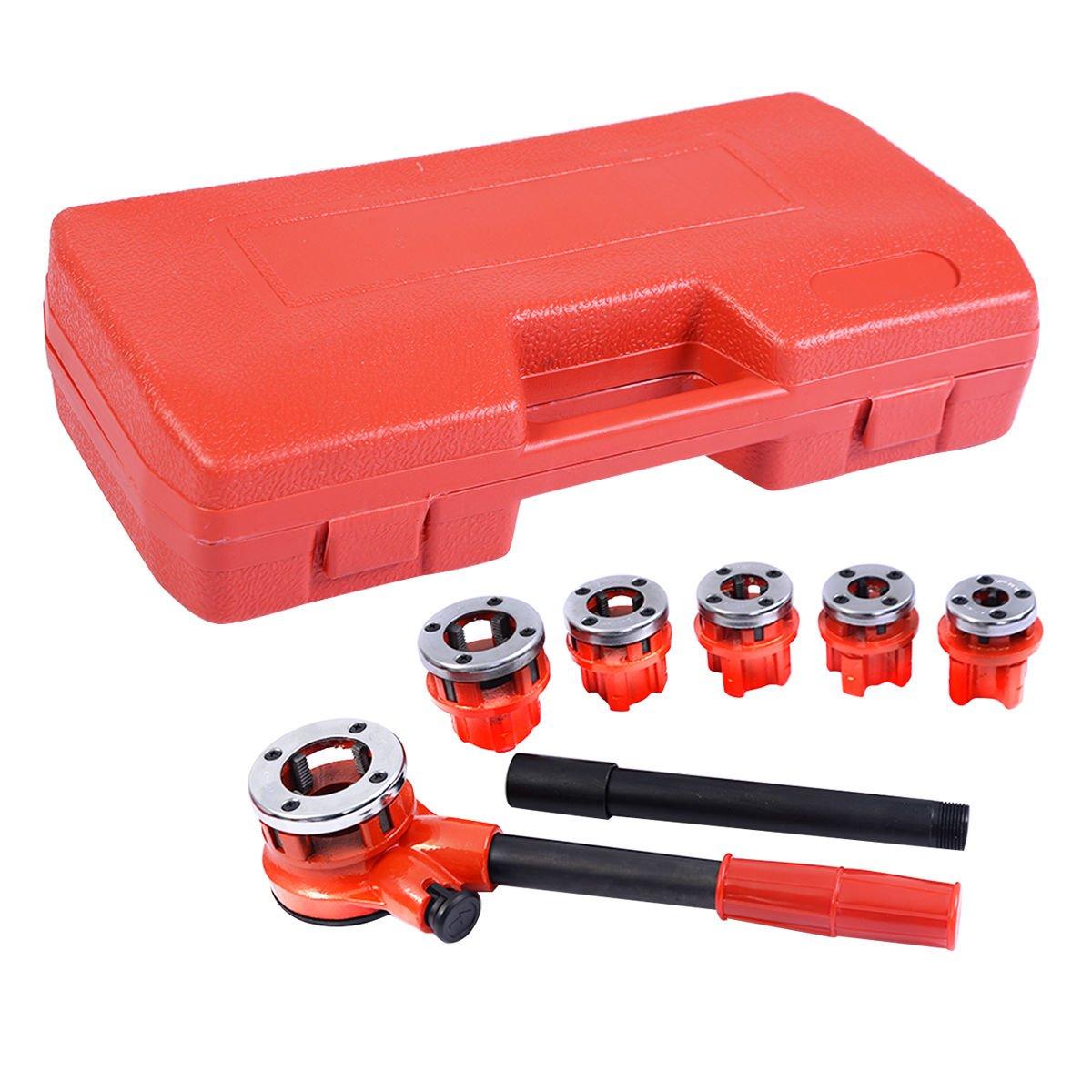 Goplus Ratchet Pipe Threader Kit Ratcheting Pipe Threading Tool Set w/ 6 Dies and Storage Case