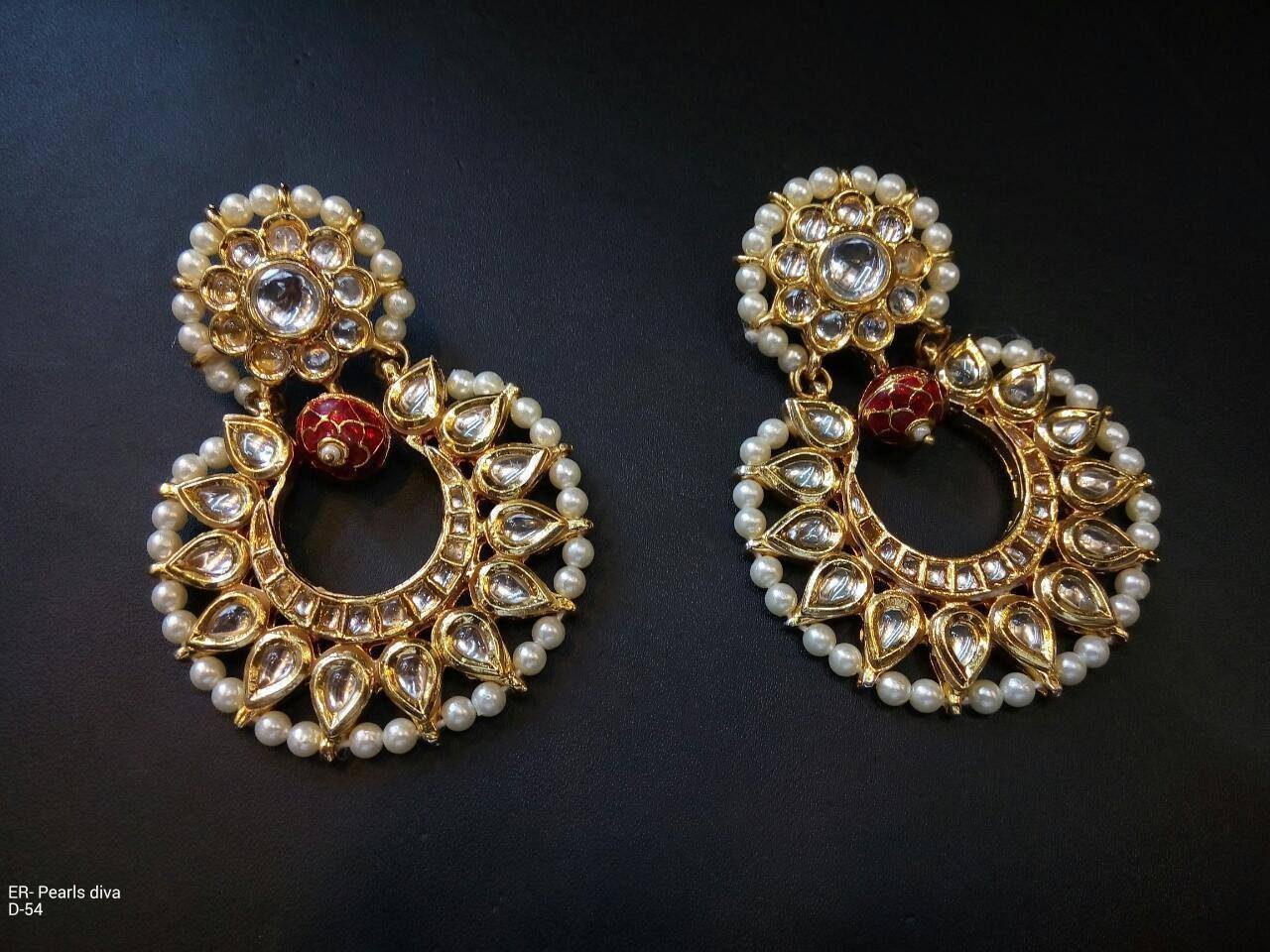 TIPTOP-Chandbali Bollywood Jewelry Gold Tone Blue Beads Kundan Earrings Jhumka Jhumki
