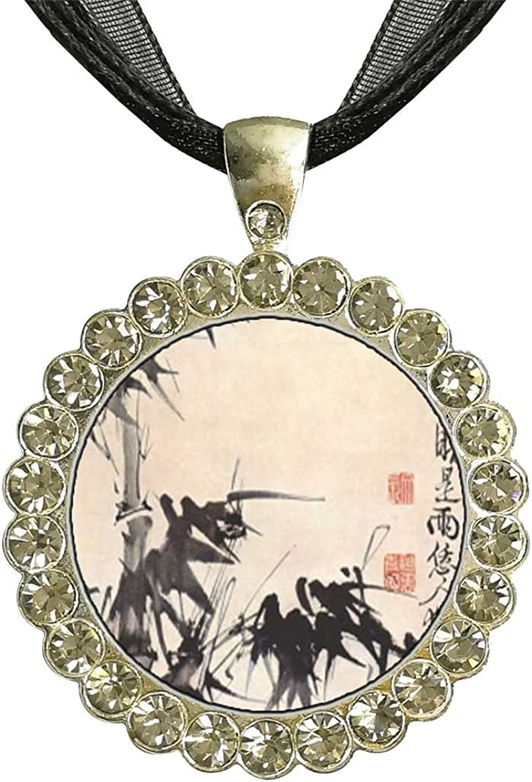 GiftJewelryShop Silver Plate Art of Chinese Bamboo Painting White Crystal Charm Pendant Necklace