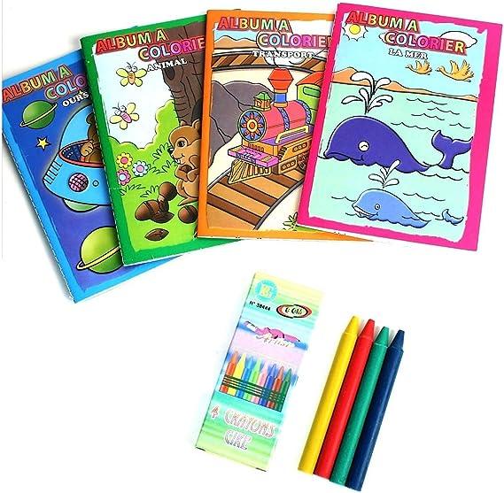 Lot de cahiers de coloriage et crayons