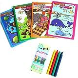 Lot de 10 Mini Album à Colorier avec Crayons Cire - Coloriage Jeu Enfant - 444