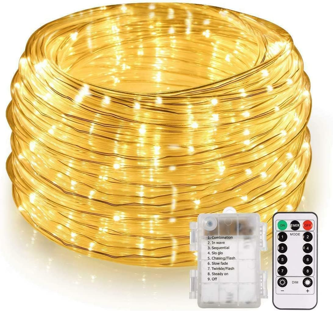 Battery Operated LED Rope Lights, YULAMP Warm White String Lights Remote Control Fairy Lights Outdoor, 40ft 120 LED Indoor Outdoor Christmas Lighting for Tree Patio, Bedroom, Boat