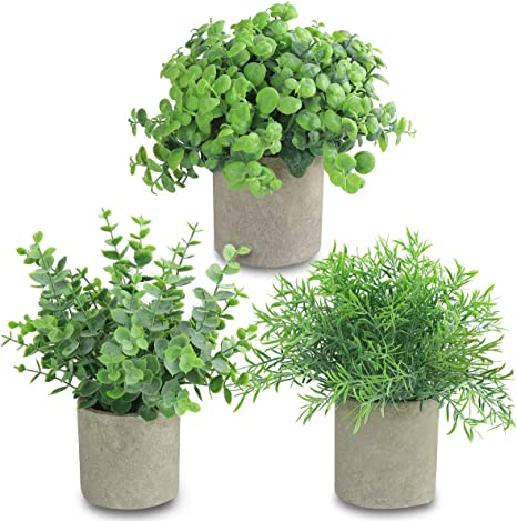Amazon Com Joyhalo 3 Pack Artificial Potted Plants Faux Eucalyptus Rosemary Greenery In Pots Small Houseplants For Indoor Tabletop Decor Kitchen Dining