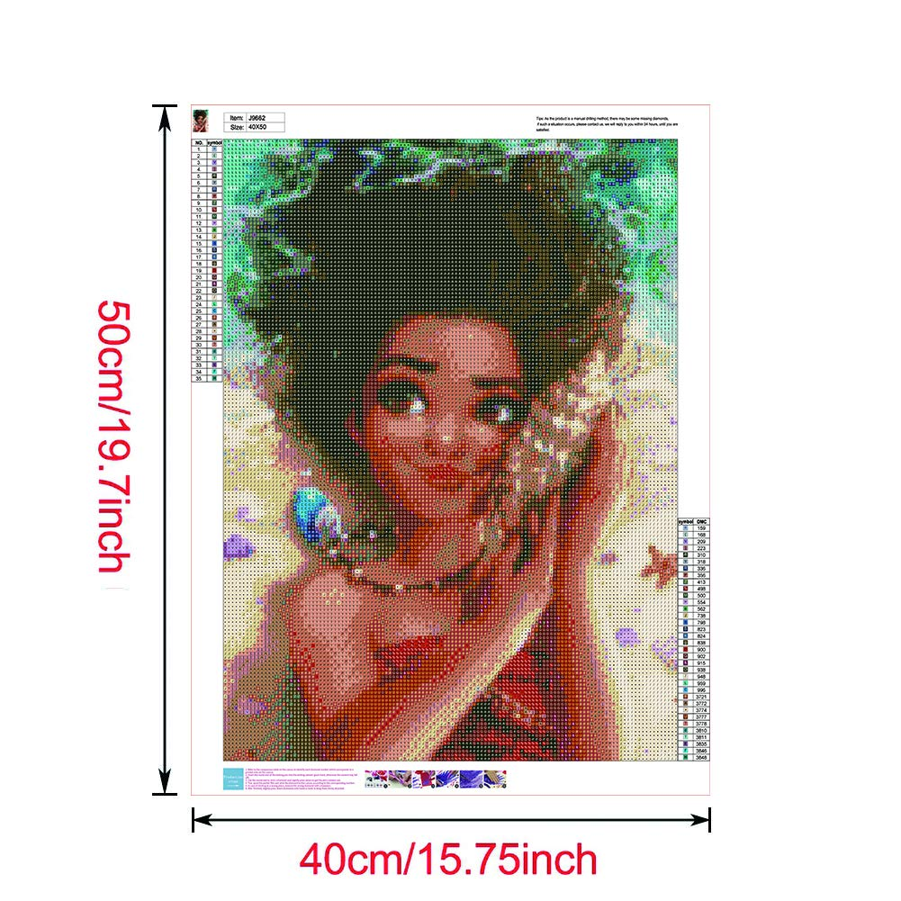 Full Drill DIY 5D Diamond Painting by Number Kit,16 x 20 Inch Moana Crystal Rhinestone Embroidery Cross Stitch Arts Craft Canvas Wall Decor