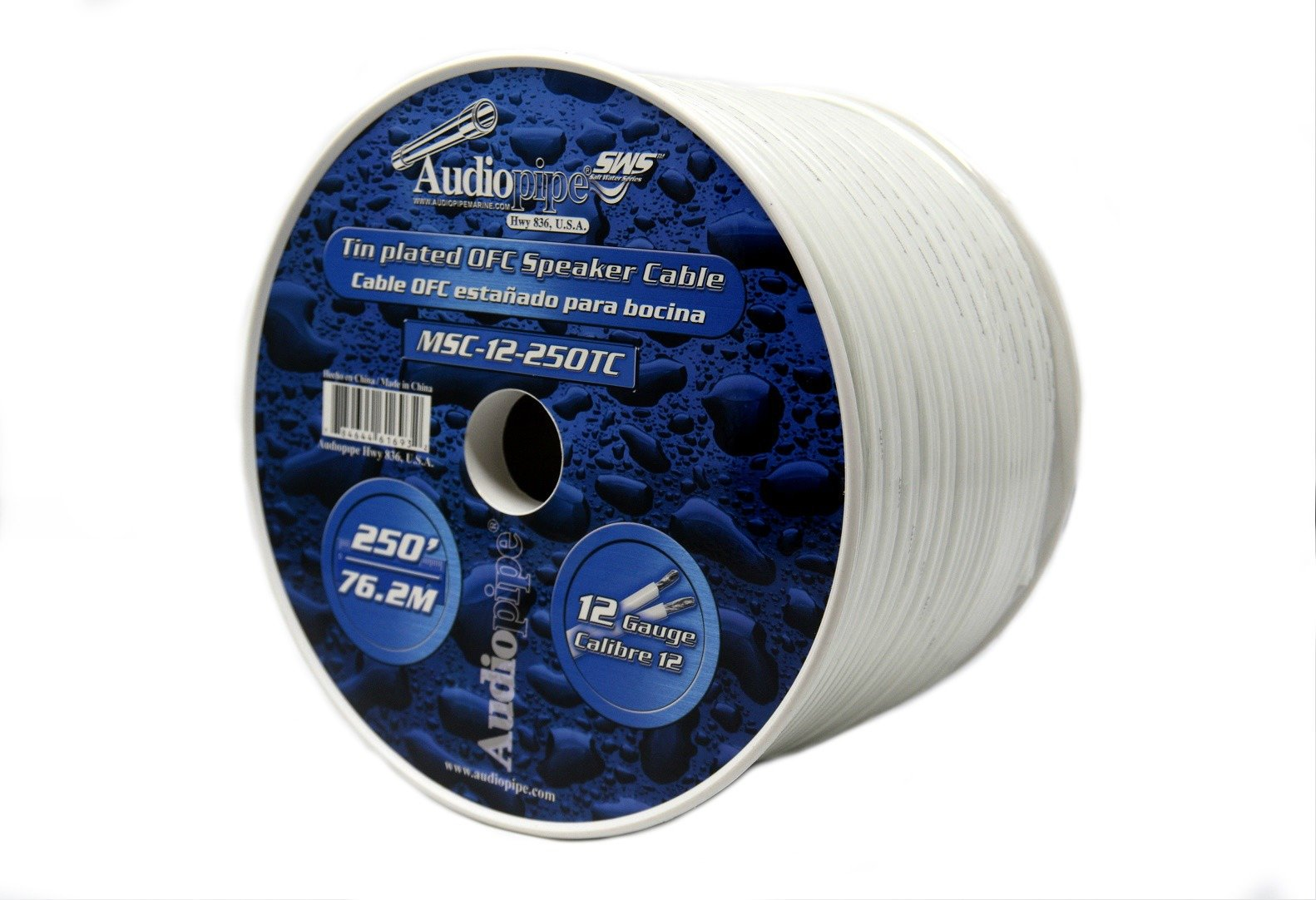 250 foot 12 Gauge Marine Grade Speaker Cable Wire Tin Plated OFC White