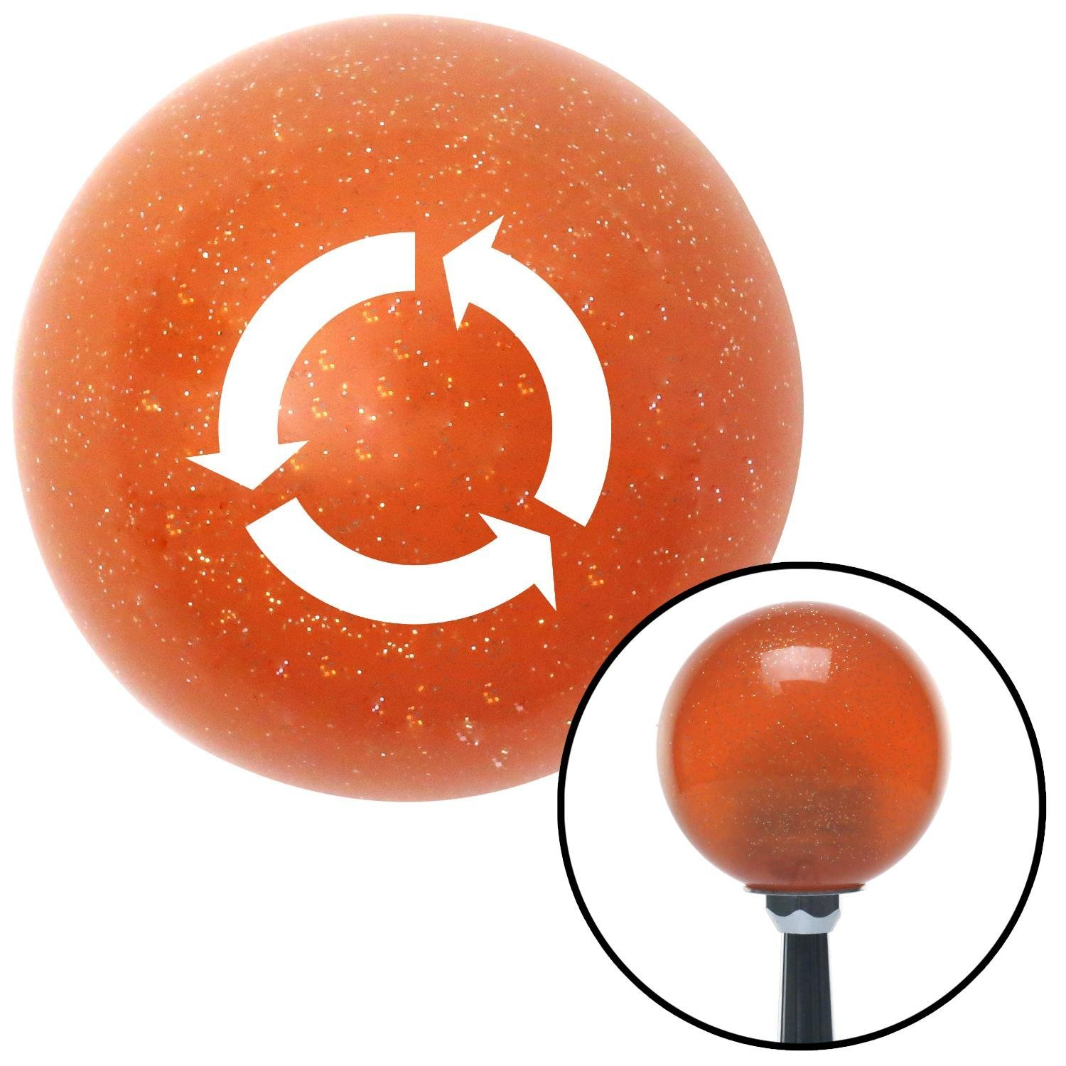 White Arrows in Circle American Shifter 36679 Orange Metal Flake Shift Knob with 16mm x 1.5mm Insert