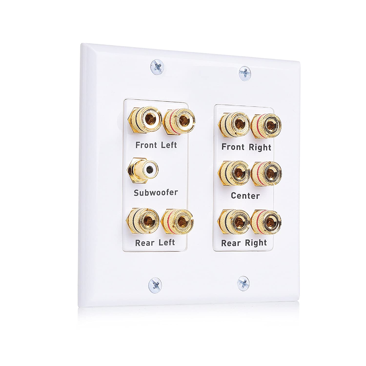 Cable Matters Double Gang 5.1 Speaker Wall Plate (Home Theater Wall Plate, Banana Plug Wall Plate) in White