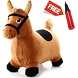 Hopping Horse - iPlay, iLearn Toddler Horse Hopper Inflatable Ride On Horse Toys Plush covered with pump(Brown)