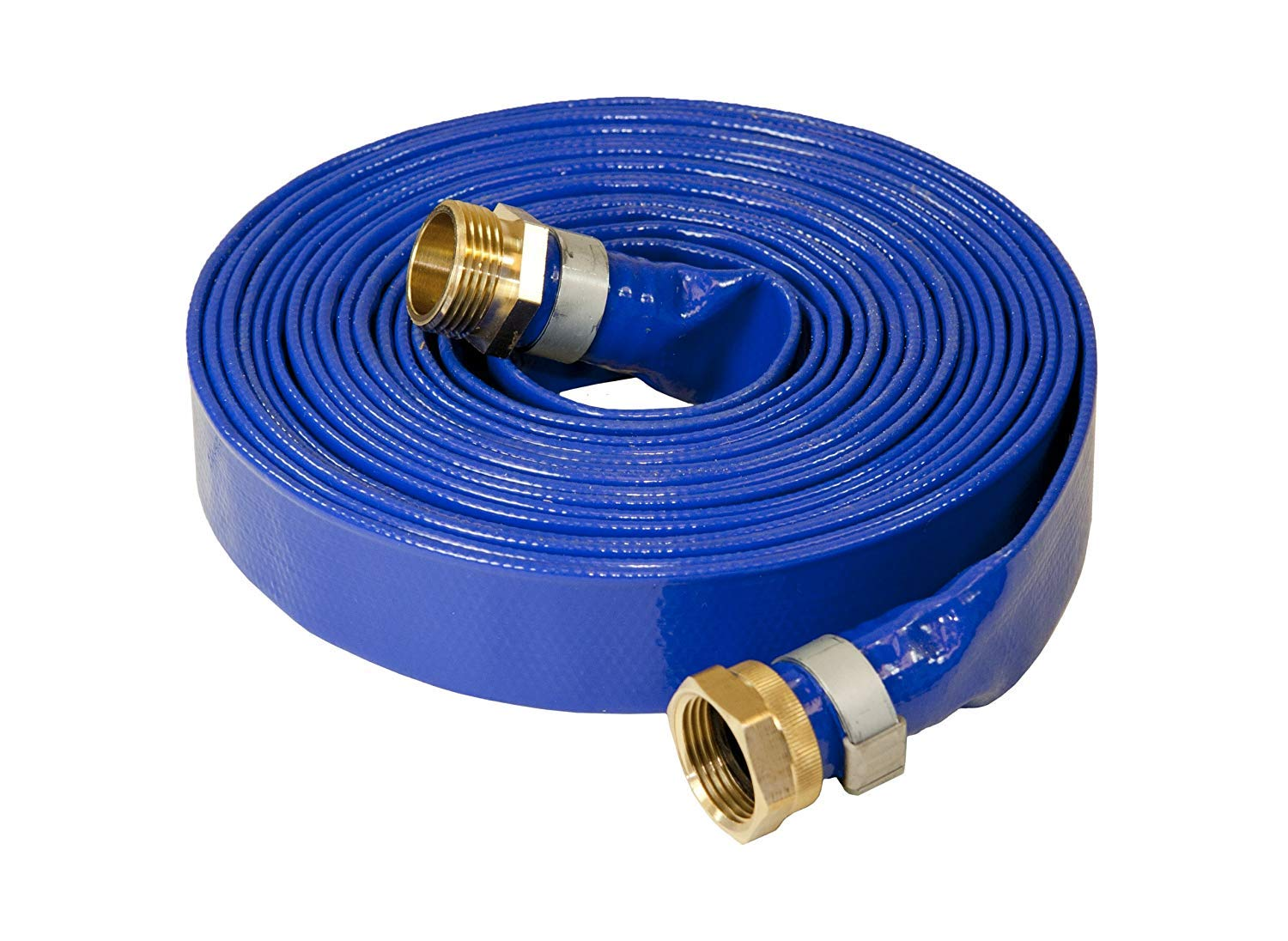 Stanios 4502-1000 Reinforced Blue PVC Lay Flat 1-Inch Water Discharge Hose with 1-Inch Threaded Couplings (25 Feet) by Stanios Industrial