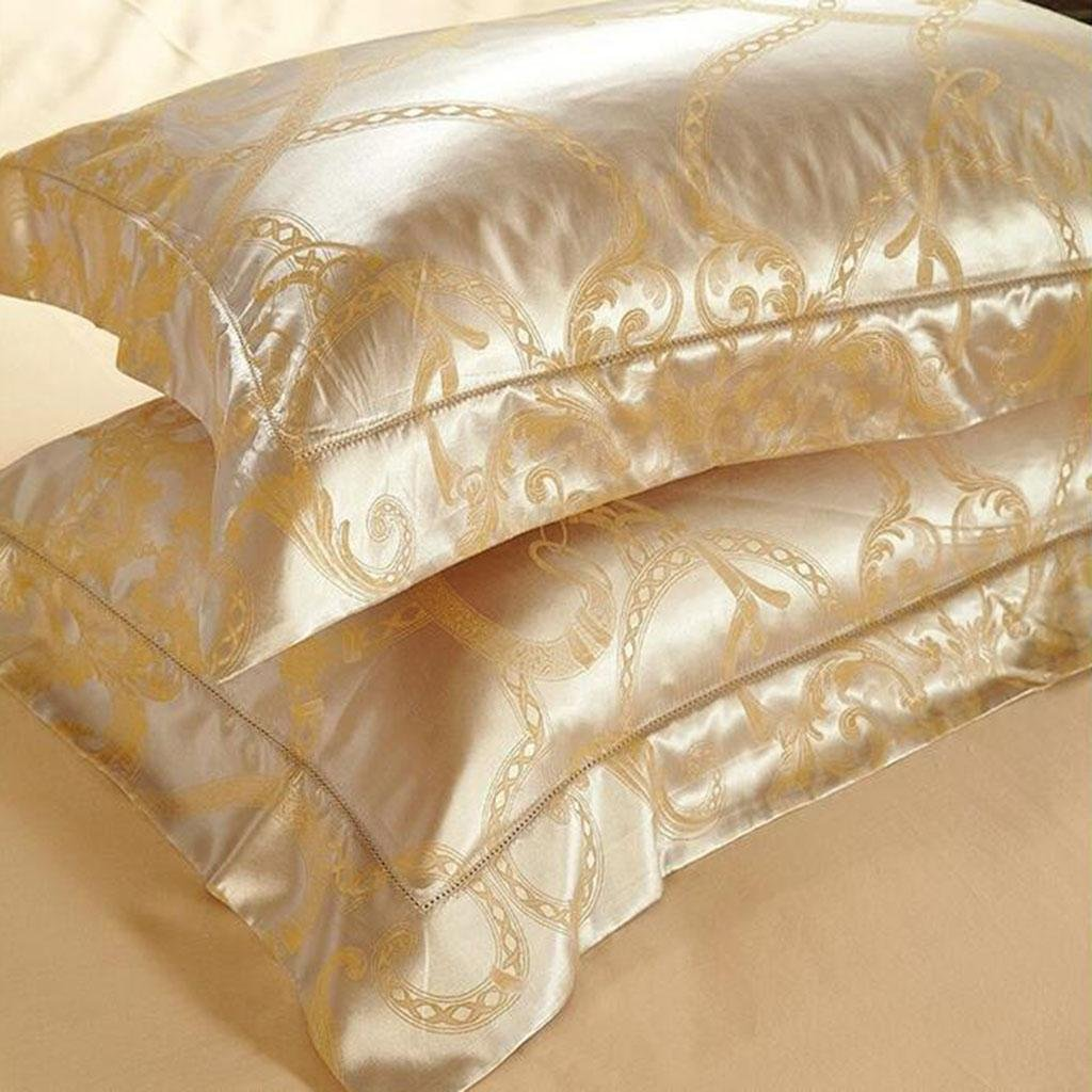 L&M European style silk Four sets Mulberry silk Sided Silk Solid color Wedding Kit Bed Supplies 200 230 cm , gold , 200230cm by WANG (Image #2)