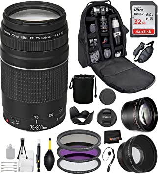USA Warranty along with Telephoto /& wide angle lens Fibertique cleaning cloth along Deluxe cleaning Accessory Bundle 58mm Filters Canon EF 75-300mm f//4-5.6 III Lens