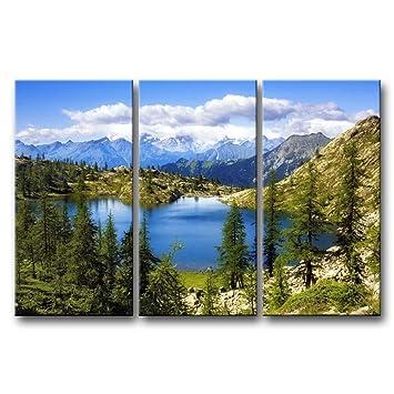 3 Stück Wand Kunst Malerei Lago Bianco Schweiz Lake Snow Mountain Bäume  Cloud Prints Auf Leinwand