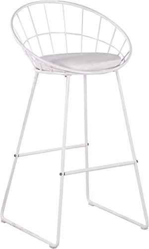 AC Pacific Bar Chair Wrought Iron Stool, Modern Minimalist Barstool, Set of 2, White