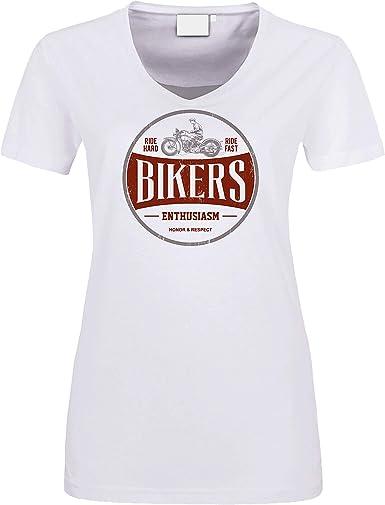 Biker – Camiseta para mujer, color blanco, estilo motero, estilo retro, estilo motero: Amazon.es: Ropa y accesorios
