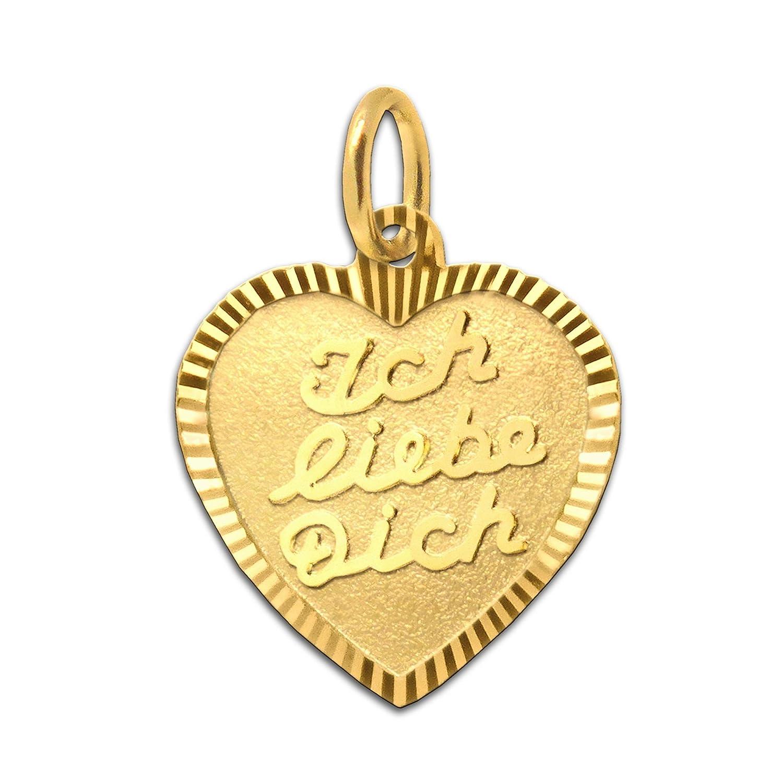 CLEVER SCHMUCK Goldener Anhänger Herz 13 mm matt mit Aufschrift Ich liebe dich Rand diamantiert glänzend 333 GOLD 8 KARAT im Etui ahg339