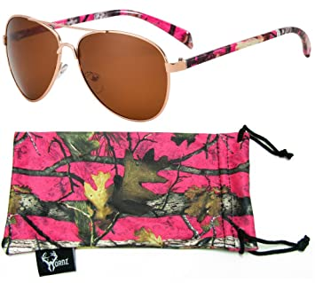 Hornz rose camouflage polarisée lunettes de soleil aviateur pour les femmes et l'appariement libre pochette en microfibres – Moyenne à grande taille de visage – Hot Cadre camo rose – Ambre lentille 0ZWsd