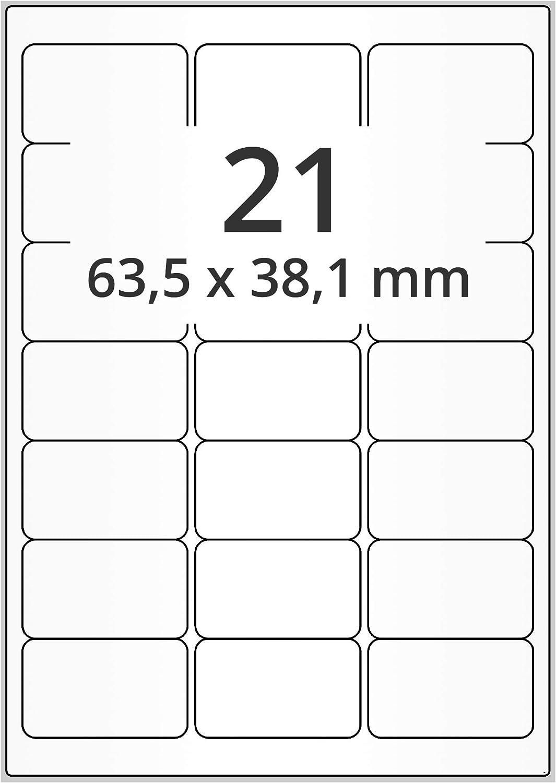 selbstklebend 100 Blatt 64 x 30 mm 2700 Papieretiketten wei/ß auf DIN A4 Bogen Labelident Laser-Etiketten f/ür  FBA Versand matt
