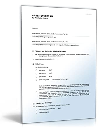 Arbeitsvertrag Arzthelferinnen Word Dokument Amazonde Software