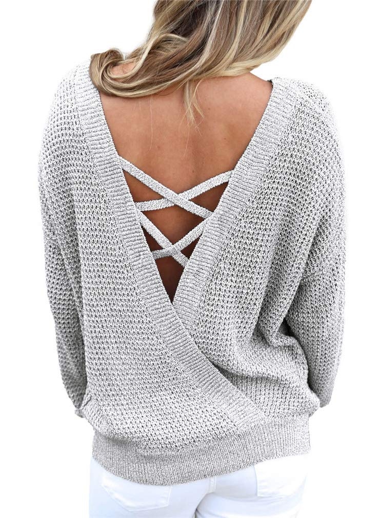 Lealac Women's Casual V Neck Long Sleeve Criss Cross Backless Loose Knit Pullover Sweaters Jumper Tops L102-SW27685 Gray L
