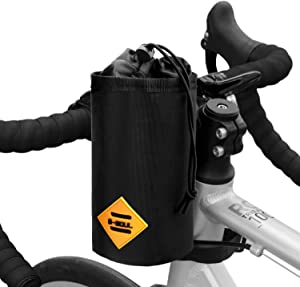 Suruid Bicycle Water Bottle Holder Bag, Bike Handlebar Cup Drink Holder Insulated Stem Water Bottle Bag Cycling Frame Strap-On Waterproof Storage Pouch for All Bikes Daily Use Touring Commuting