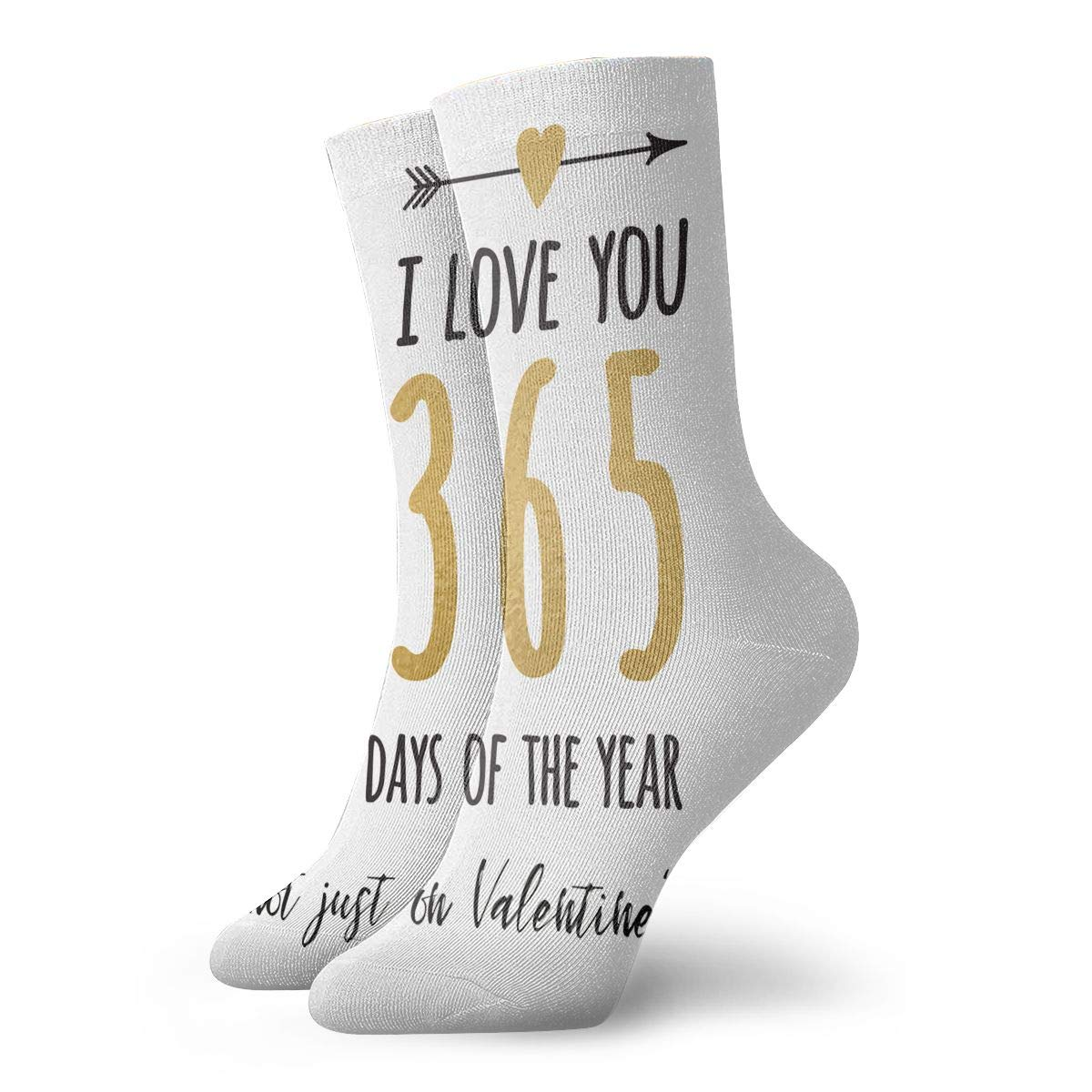 I Love You 365 Days A Year Fashion Dress Socks Short Socks Leisure Travel 11.8 Inch