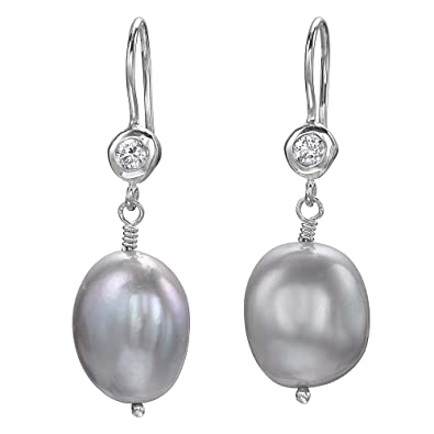 Dower & Hall Pearlicious Sterling Silver White Topaz and Pearl Drop Earrings wB3aE