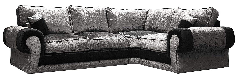 Sofá esquinero grande, tango, sillón negro y plateado, de ...