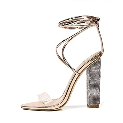 c4309d3dca Bella Luna Women's Gladiator Ankle Strap Clear Rhinestone Lace up Chunky  High Heel Strappy Sandals (