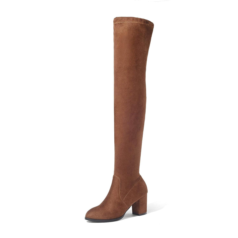 Damen Wildleder Raue Raue Raue Fersen Elastische Hohe Overknee Lange Stiefel 6e5f29