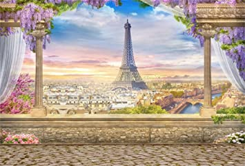 7x10 FT Paris Vinyl Photography Backdrop,Abstract City Image Violin Cat with Bow Tie Eiffel Tower Illustration Background for Photo Backdrop Baby Newborn Photo Studio Props