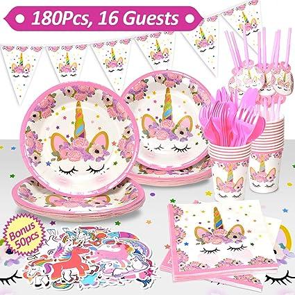 Amazon.com: Unicorn suministros para fiestas, 180 piezas ...