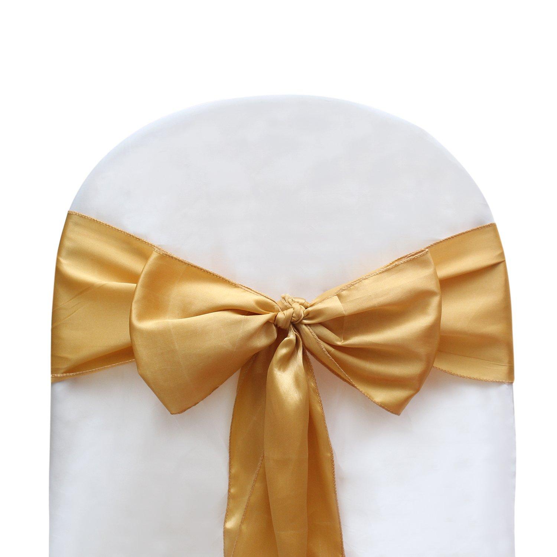 UDS ゴールド ブライト サテン チェア サッシュ リボン ウェディング デコレーション & パーティー用品 1000 ゴールド UDS1-SATIN-GOLD-1000 1000  B07K32VD32