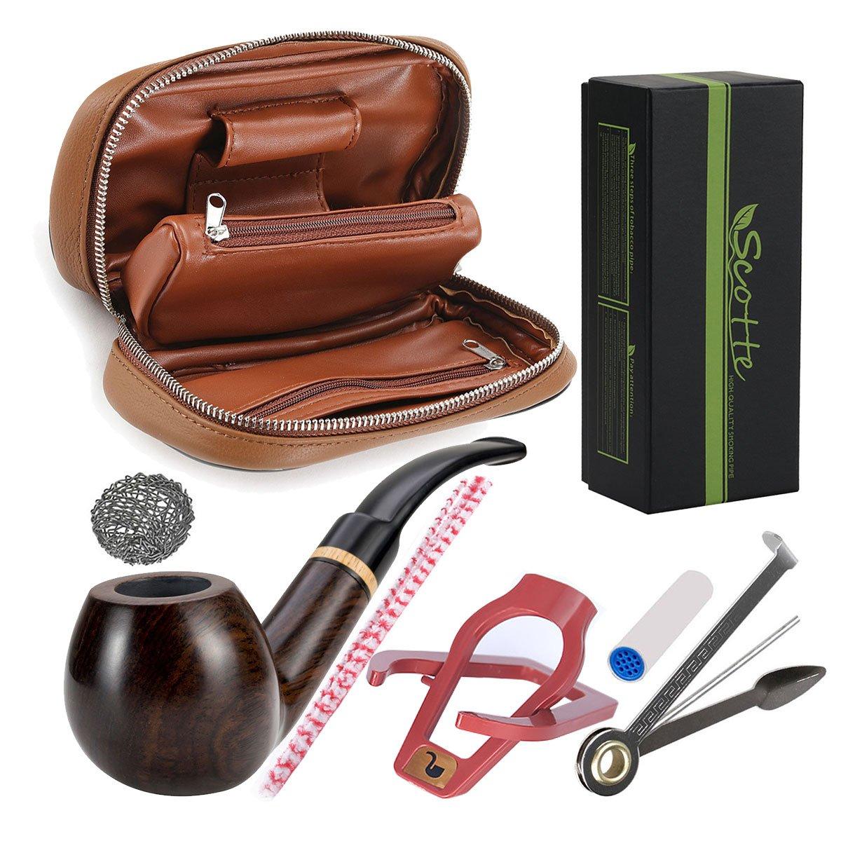 Scotte New tobacco pipe+tobacco pipe pouch+ accessories(Scraper/stand/Filter Element/filter ball/small bag/box)