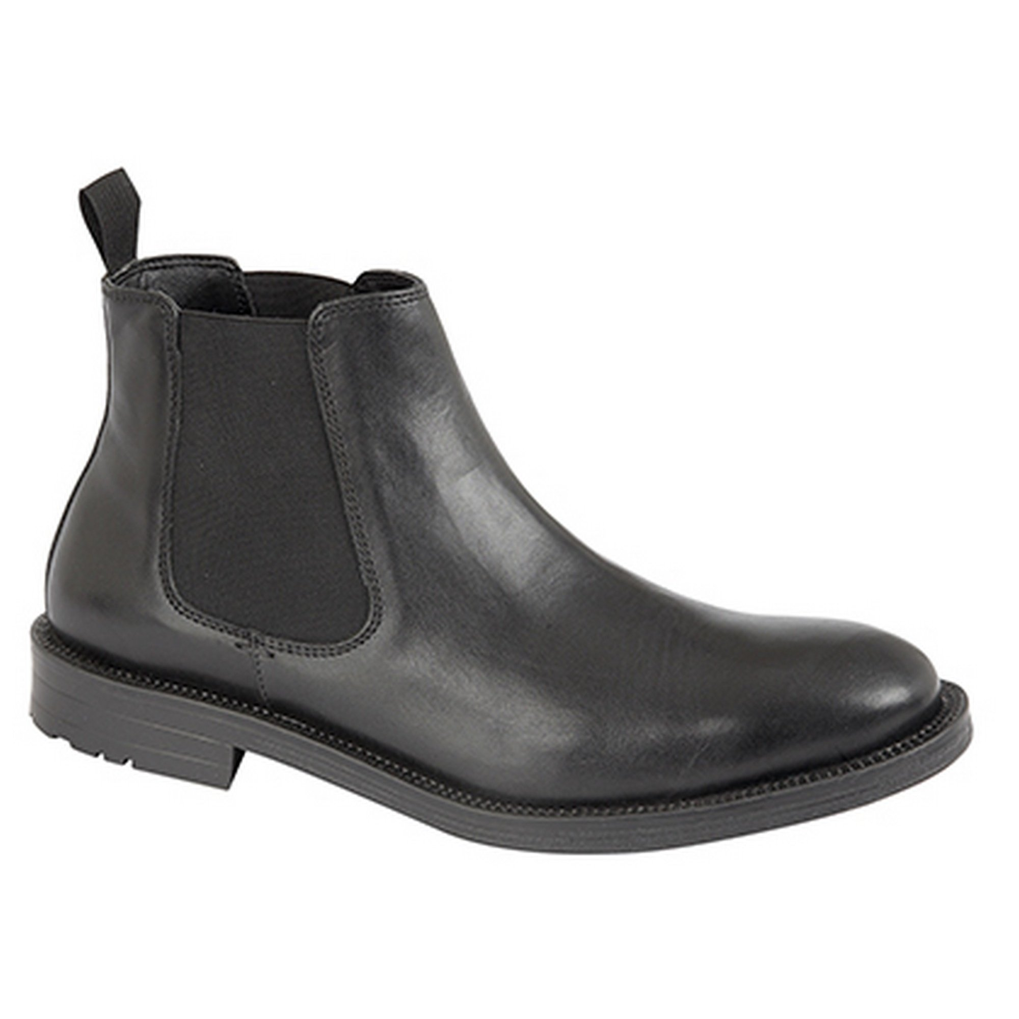 Roamers Mens Twin Gusset Leather Dealer Boots (10 US) (Black) by Roamers