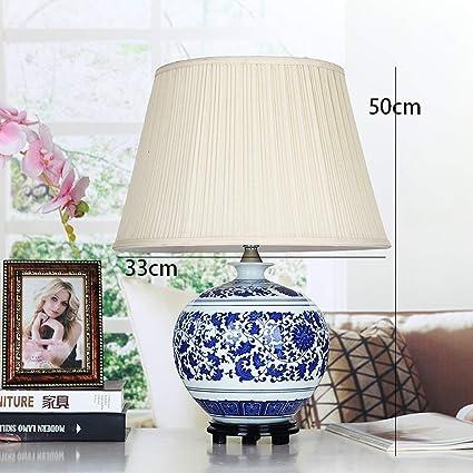 Amazon Com Aoli Table Lamp Chinese Luxury Blue And White Porcelain