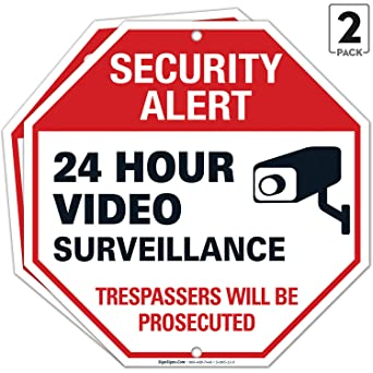 24 Hour Video Surveillance Sign  Avoid Intruders 10 x 7 Inch Metal