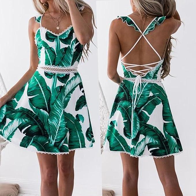 Vestidos Mujer Verano Playa Fiesta Vestido De La Princesa del Vestido del Halter De La ImpresióN De La Hoja del CordóN De Las Mujeres: Amazon.es: Ropa y ...